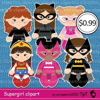 Supergirl clipart, girl superhero clipart -Bundle