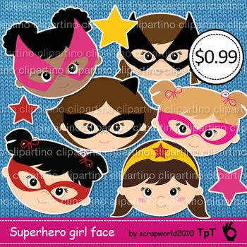 Supergirl clipart, superhero girl head clipart-Bundle