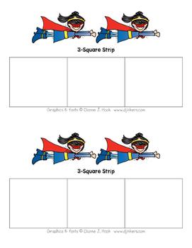 Superhero 3-Square Strip (Girl)