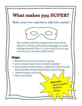 Superhero Adjective Mask