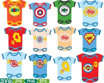 Superhero Baby Bodysuit Props Comic Speech Bubble clipart