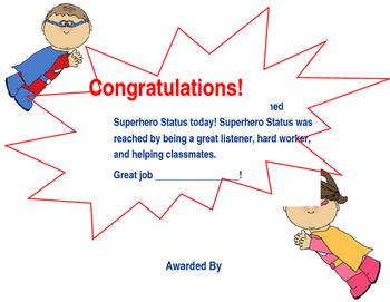 Superhero Behavior Award
