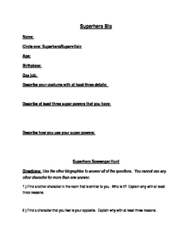 Superhero Bio: Pre-Assessment/Ice Breaker Activity