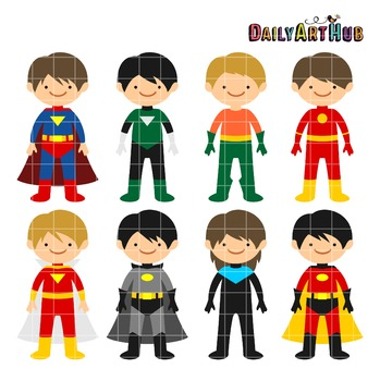 Superhero Boys Clip Art - Great for Art Class Projects!