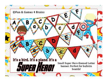Superhero Bulletin Board Alphabet banners 2 designs, upper