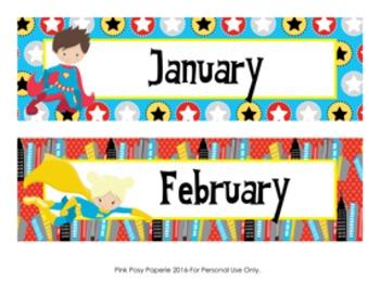Superhero Calendar Headers