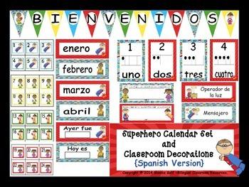 Superhero Calendar Set And Classroom Decorations {Spanish
