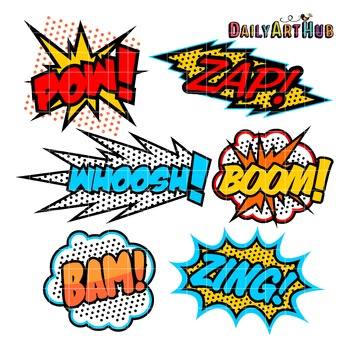 Superhero Callout Clip Art - Great for Art Class Projects!