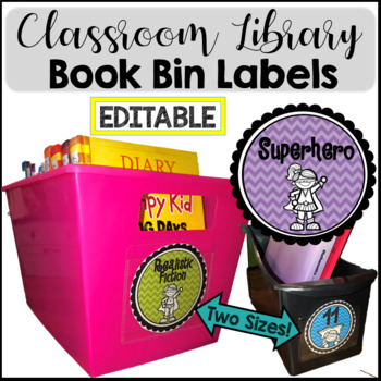 Labels EDITABLE Book Bin Labels for Classroom Library {Sup