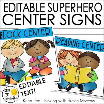Superhero Theme Center Signs - Superhero Theme Classroom Decor