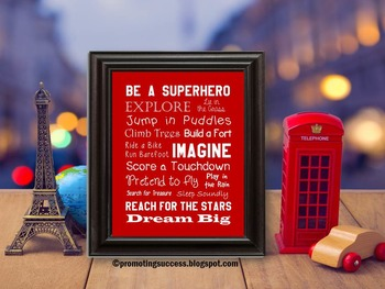 Be a Superhero Red and White Classroom Poster with Inspira