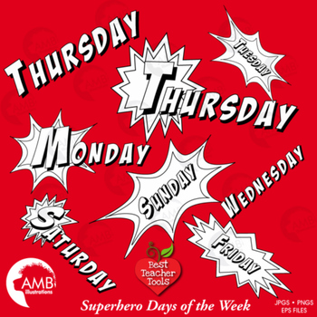 Superhero Clipart Days of the Week Digital Stamps, Back to