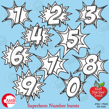 Superhero Clipart Numbers Clipart, Numbers Stamps, Bursts,