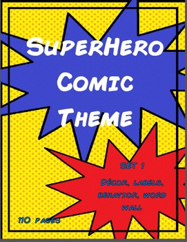Superhero Comic Theme Collection Set