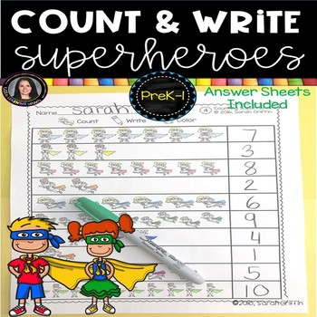 Numbers to 10 ~ Count, Color, Write ~ Superhero Math Worksheets