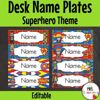 Superhero Theme Labels for Name Plates   Desk Labels **Editable**