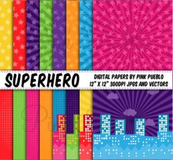 Superhero Digital Scrapbook Paper or Backgrounds - Commerc