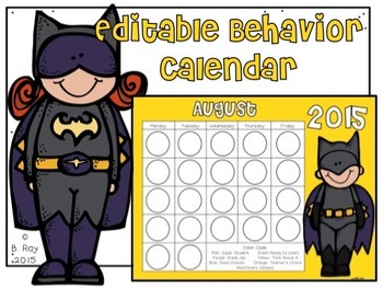 Superhero Editable Monthly Behavior Cards