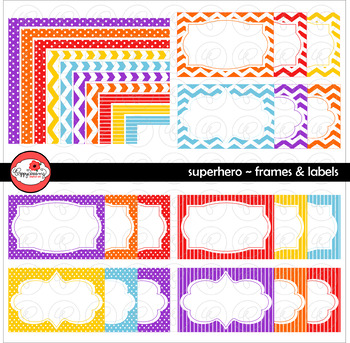 Superhero Frames and Labels Digital Borders Clipart by Pop