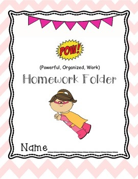 Superhero Girl Homework Folder cover