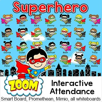 Superhero Attendance for All Interactive Whiteboards and S