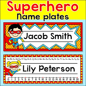 Name Plates - Superhero Theme Classroom Materials