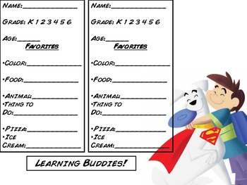 Superhero Learning Buddies Get To Know You