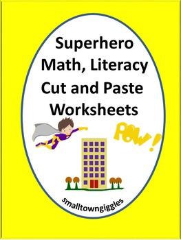 Superhero Cut and Paste Worksheets
