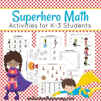 Superhero Math for Kindergarten, First, and Second Grades
