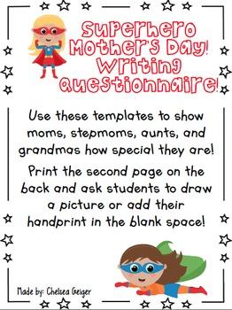 Superhero Mother's Day Writing