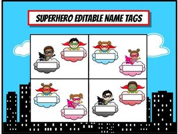 Superhero Name Tags - EDITABLE