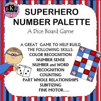 Superhero Number Palette Dice Board Game