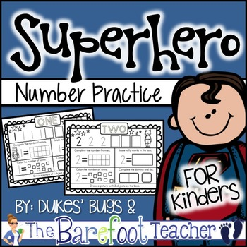 Back to School - Superhero Number Practice Sheets
