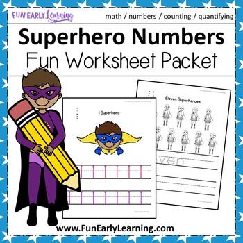 Superhero Numbers Worksheet Packet
