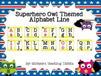 Superhero Owl Themed Alphabet Line