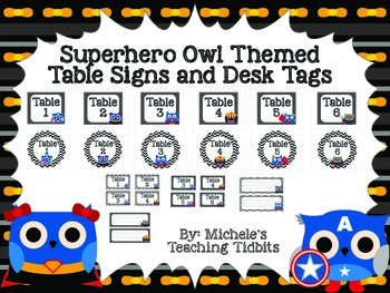 Superhero Owl Themed Table Signs and Desk Tags