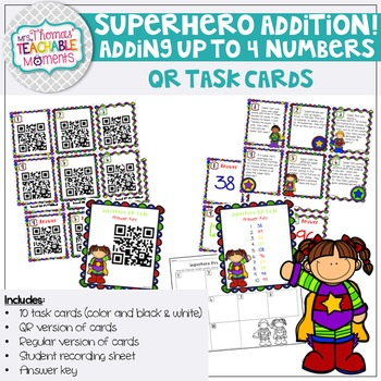 Addition QR Superhero Task Cards (Adding up to 4 numbers)