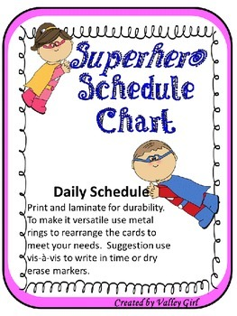 Superhero Schedule with editable template