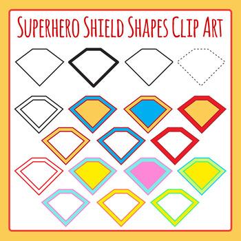 Superhero Shield Shapes Clip Art Set for Commercial Use