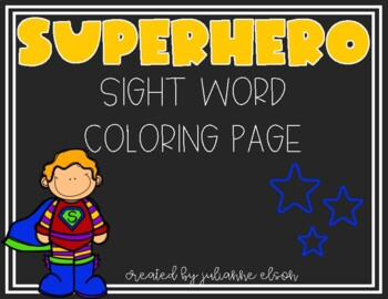 Superhero Sight Word Coloring Page