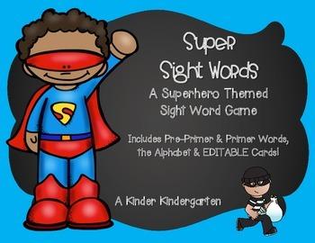 Superhero Sight Words (EDITABLE)