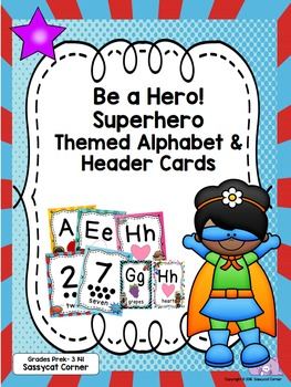 Superhero Star Theme Alphabet and Numbers to 20 Posters PreK - 3