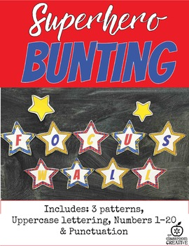 Superhero Star Themed Bunting Mega Pack-(Alphabet, Numbers