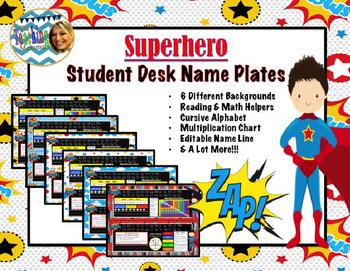 (Updated) Superhero Student Desk Name Plates
