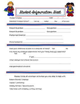 Superhero Student Info Sheet // Back to School Student Inf