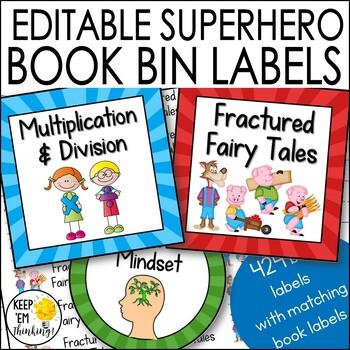 Superhero Theme Sunray Book Bin Labels