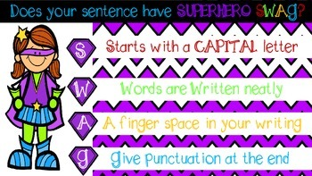 Superhero Swag Sentences Poster FREEBIE