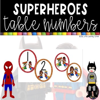 Superhero Table Numbers - Circles
