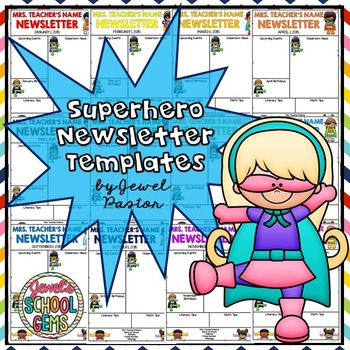 Superhero Theme Editable Monthly Newsletter Templates