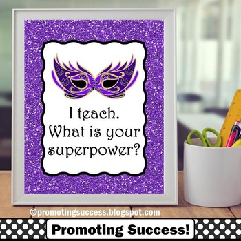 Teacher Appreciation Week Superpower Poster Purple Classro